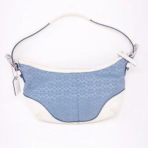 COACH Signature Blue & White Mini Hobo Bag